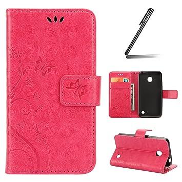 Funda para Nokia Lumia 635, Nokia Lumia 635 Funda de PU cuero resistente, Nokia Lumia 630 Ultra Slim PU Cuero Folding Stand Flip Funda Carcasa ...