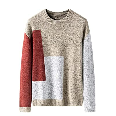 WINJUD Mens Sweaters Autumn Winter Color Block Sweatshirt Vintage Ethnic Long Sleeve Tops at Men's Clothing store
