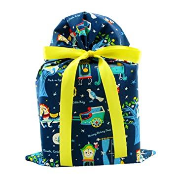 Nursery Rhymes Reusable Fabric Gift Bag for Baby Shower or Child's Birthday (Standard 10 Inches
