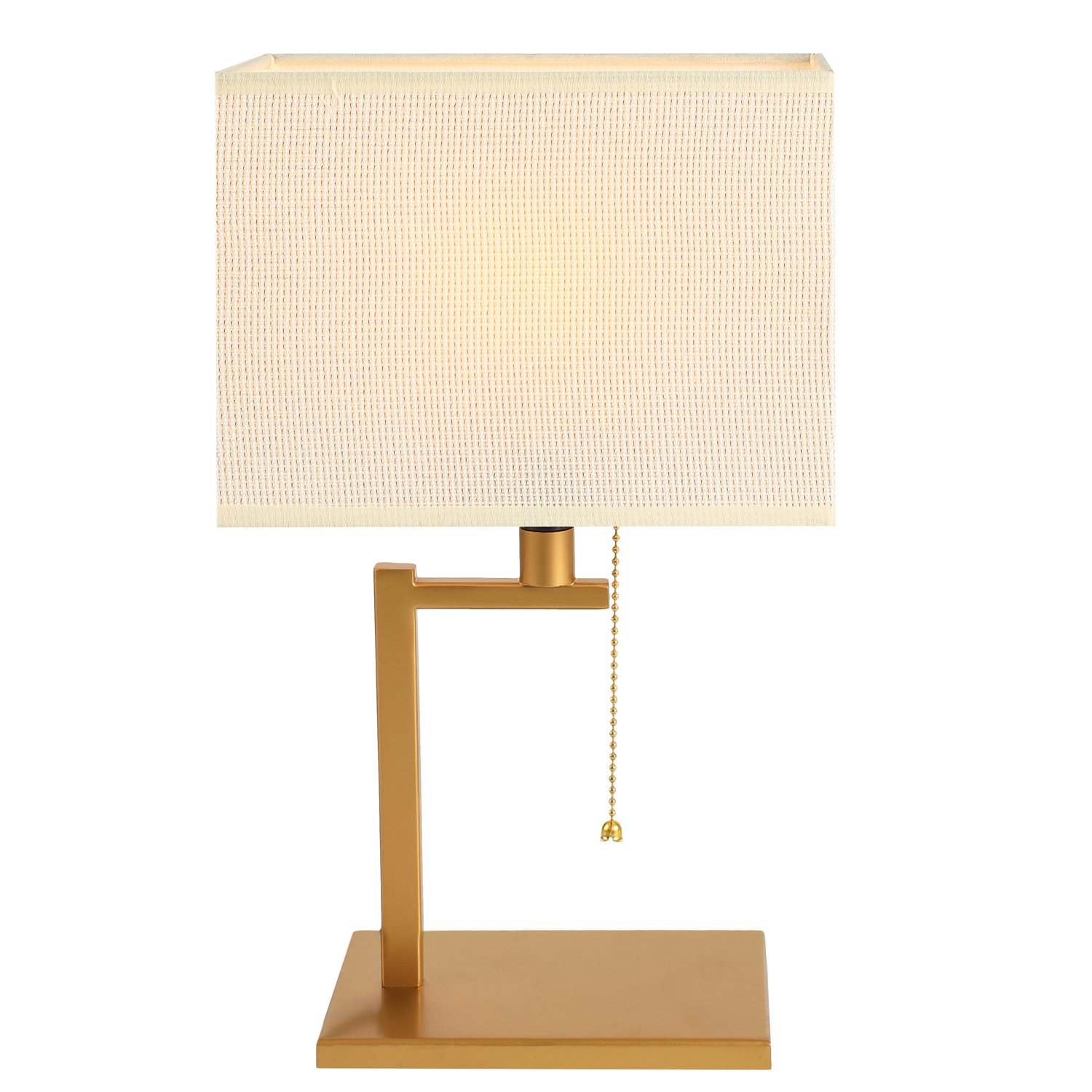 WAYKING Table Lamp, Modern Matt Brass Finish Metal Frame Bedside Lamp with Beige and Gold Fabric Shade