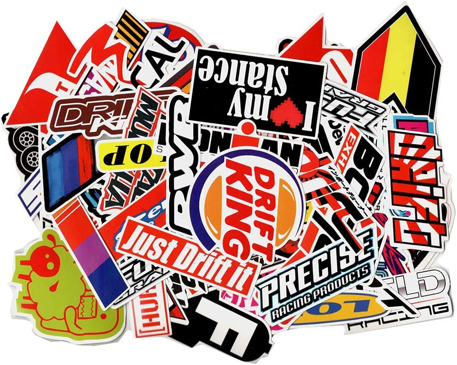 Racing Car Sticker Random Pack 100PCS Cool Stickers Motorcycle Bicycle Skateboard Luggage Decal Graffiti Patches Skateboard Stickers for Laptop - UV Resistant Waterproof Vinyl Stickers