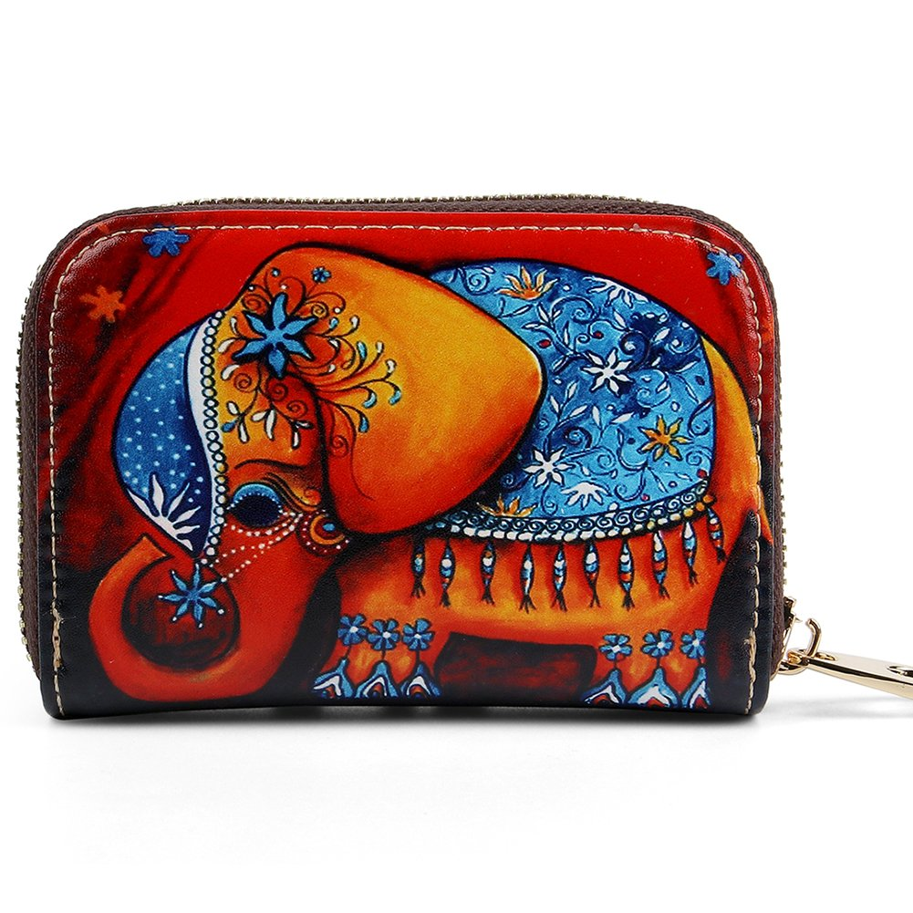 Buvelife Credit Card Wallet RFID Blocking Short Wallet Leather Zipper Wallet Clutch Wallets, Wallet for Women (Elephant-2)