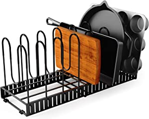 GeekDigg Pot Organizer Rack for Cabinet, Expandable 8+ Pans Pots Lid Organizer Rack Holder, Adjustable Kitchen Cabinet Pantry Countertop Bakeware Organizer Rack Holder with Anti-scratch Rubber Coating