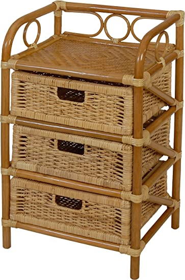 Korb Outlet Rattan Kommode Mit 3 Schubladen Badregal Korb Regal 3