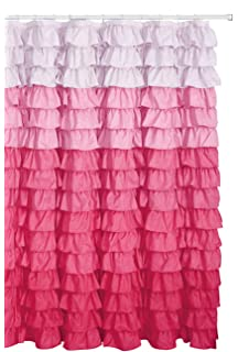 Waterfall Ruffled Fabric Shower Curtain Multi Color Pink