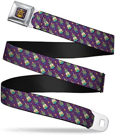 24-38 Inches in Length 1.5 Wide Buckle-Down Seatbelt Belt King Bob//Crown Monogram Purple//Gold//Turquoise