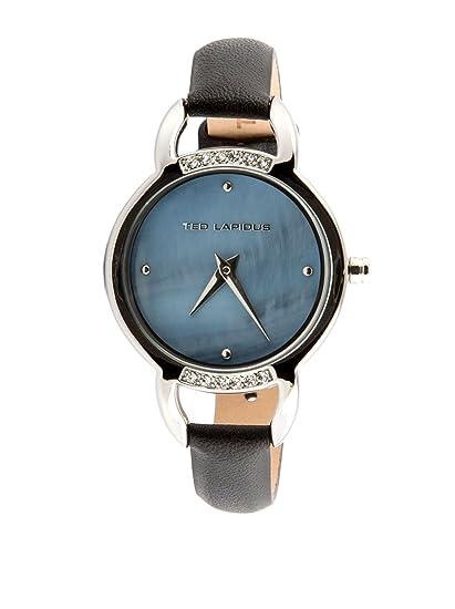 Ted Lapidus – a0636gnfn – Reloj Mujer – Cuarzo Analógico – Esfera Negra – Correa Piel