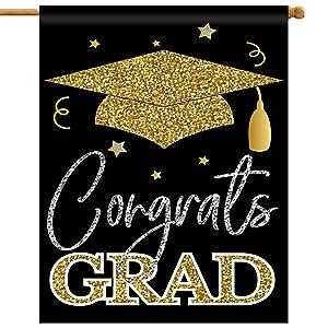 2021 Congrats Grad Garden Flag, 28x40 Inch Double Sided Congratulations Graduation House Flag, School Senior College Graduations with Cap, Graduation Decorations, Celebrate Decor for Yard Outdoor Home