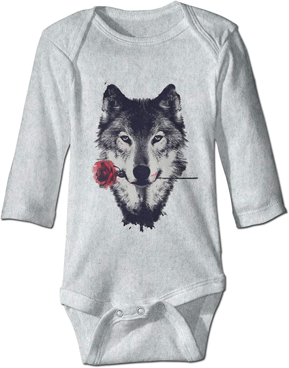 Marsherun Newborn Baby Toddler Wolf Rose Long Sleeve Climbing Bodysuits Playsuits