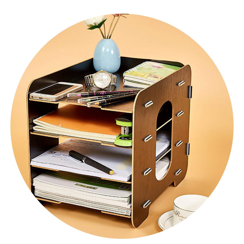 Collocation-Online Office Desktop File Holder Storage Box Wooden Multilayer Shelf Mobile Household Desktop Box,Black