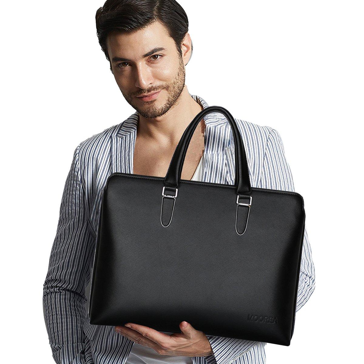 Business Briefcase Bag, Expandable Leather Briefcase for Men, 15.6 Inch Laptop Shoulder Messenger Bag (Black)