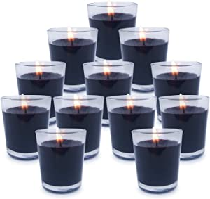 Kingyo Black Votive Candles with Clear Glass Holder, Unscented Pure Soy Wax Candles for Halloween Birthday Wedding and Festival Decor- Set of 12