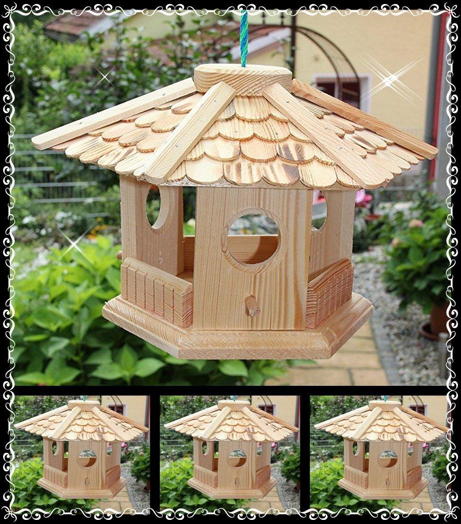 Vogelhaus Vogelhäuser (V76) Vogelfutterhaus Vogelhäuschen-aus Holz- Schreinerarbeit-6-Eck natur Handarbeit vom Schreiner