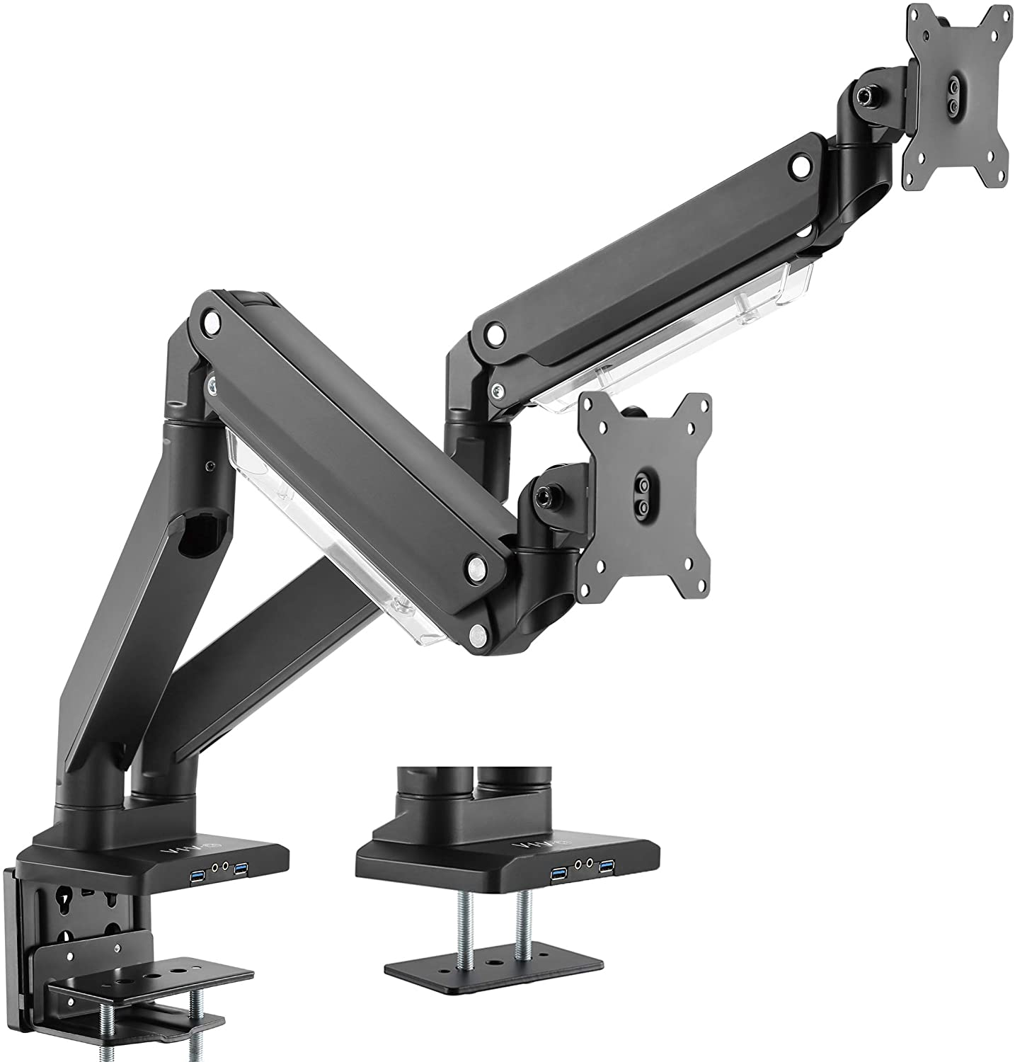 VIVO Premium Aluminum Dual Monitor Pneumatic Spring Arms Desk Mount Stand with USB 3.0 and Audio/Mic Ports, Fits 2 Screens up to 32 inches (STAND-V102G2U)