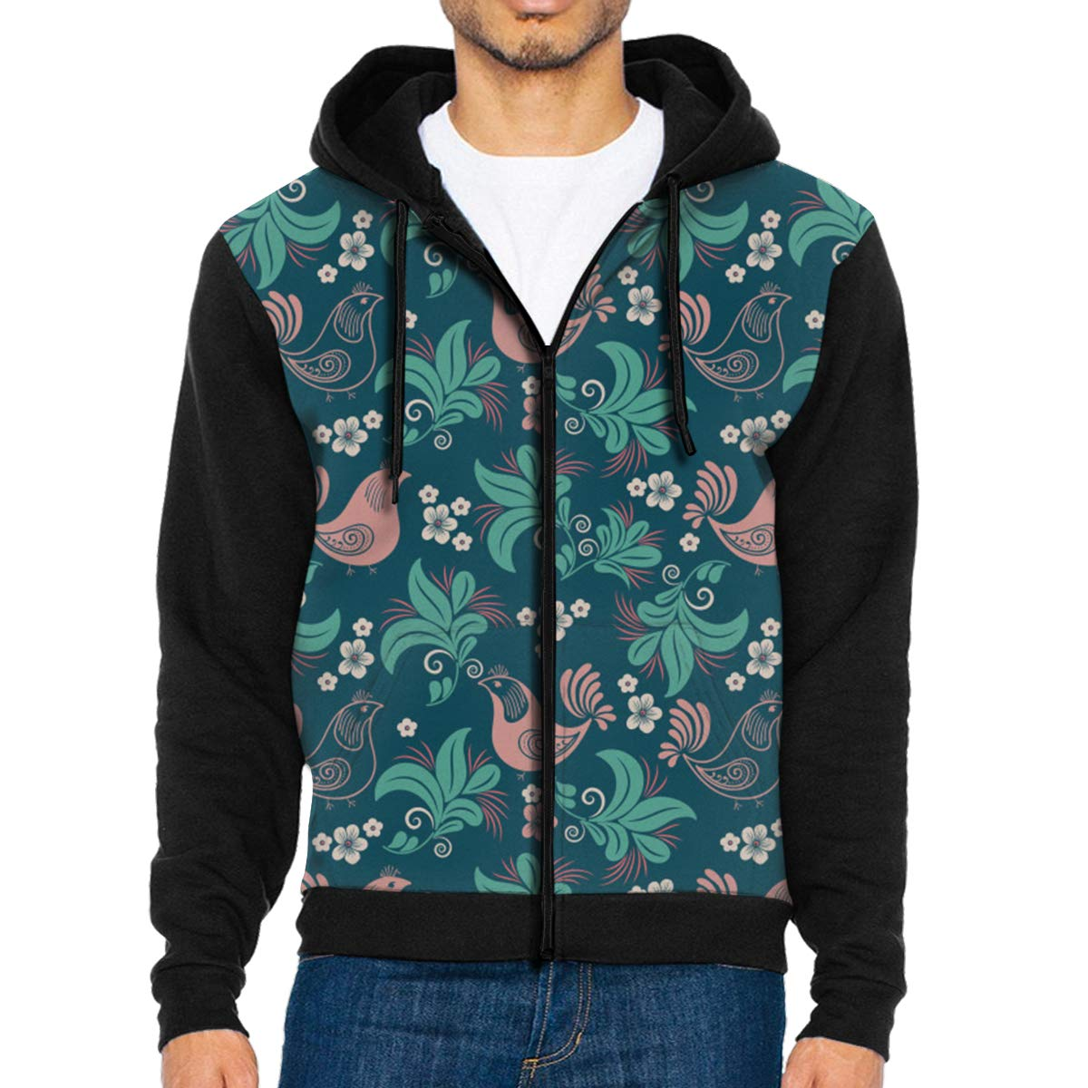 Plant Flower Bird Seamless Pattern Lightweight Mans Jacket with Hood Long Sleeved Zippered Outwear