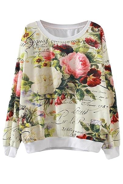 Pink Queen 3D Flower Printed Crewneck Pullover Sweatshirt for Women ... 90ee4f66b9