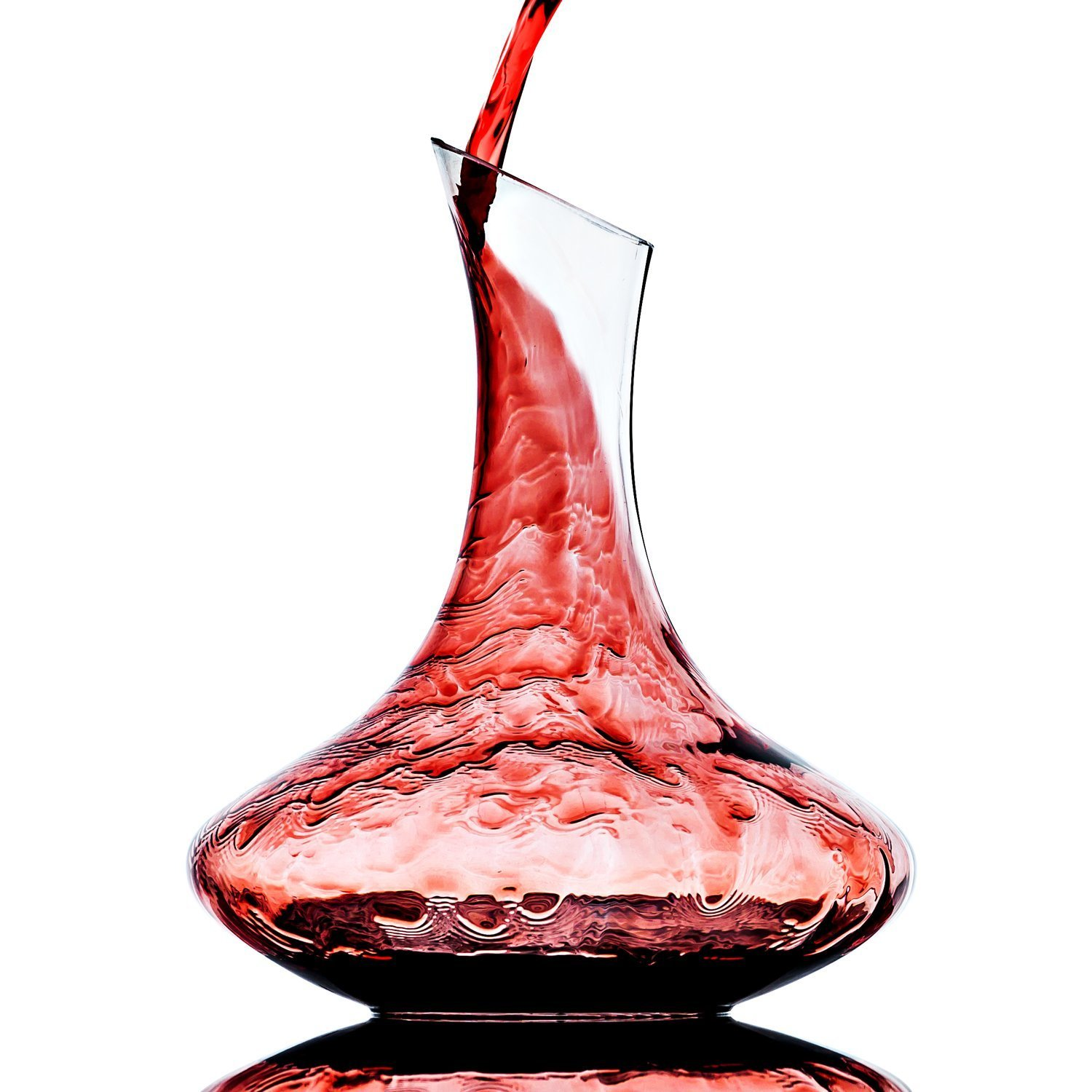 JHome 1800ml(60.8oz) Hand-Bolown Lead-free Crystal Glass Wine Decanter,Red Wine Carafe