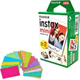 Fujifilm Instax Mini Instant Film (Twin Pack, 20 Total Pictures) + 20 Sticker Frames