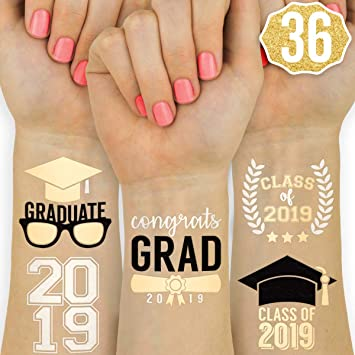 39c7ea3fc87e3 Graduation Party Supplies 2019 - Class of 2019 Flash Tattoos - 36 Temporary  - Congrats Grad