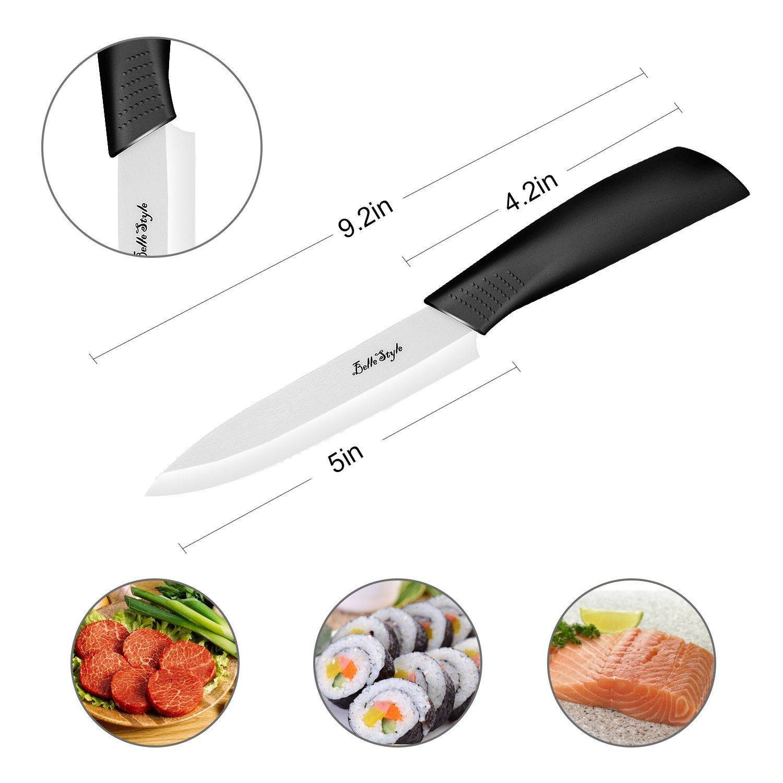 BELLESTYLE Cuchillos de Cerámica Set 3 Piezas Cuchillos de Cocina(6chef cuchillo, 5 utilidad/cortar, 4 cuchillo de fruta) y 1 Pelador Cerámica
