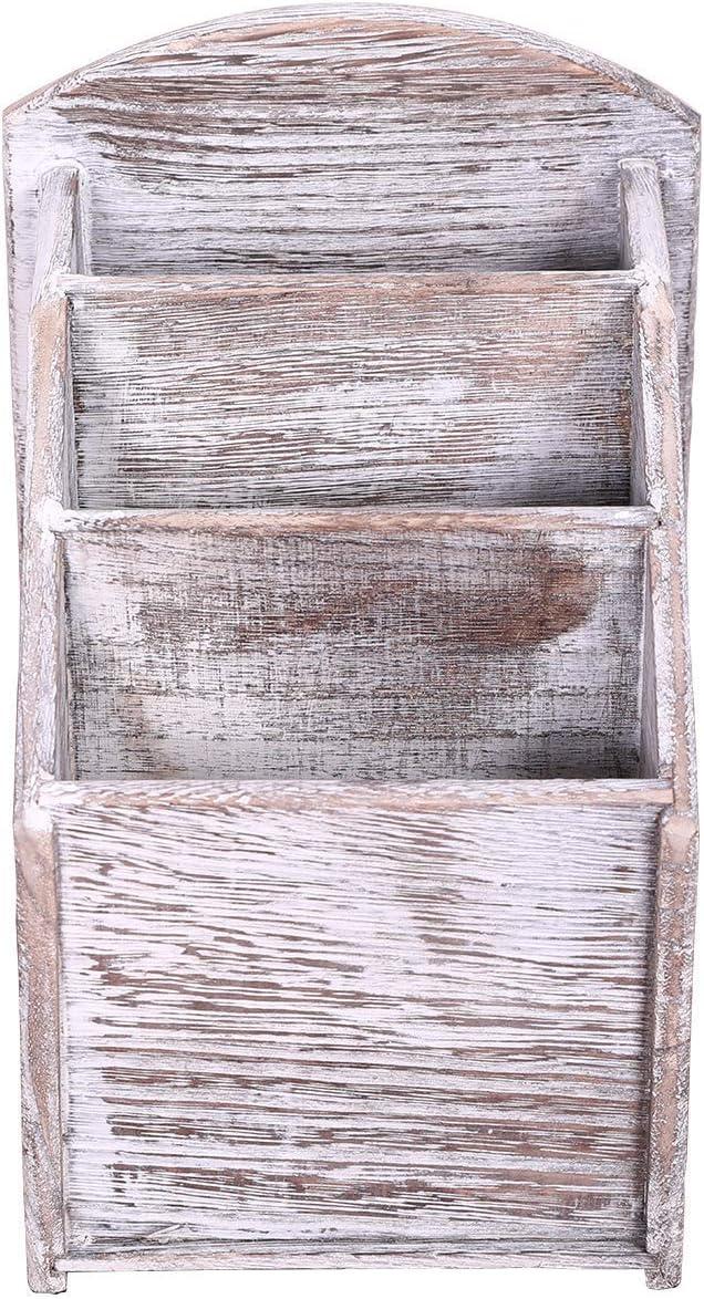 Vintage Blanco Color Apreciada de Oficina o de Escritorio Soporte de Caddie para Material Multimedia Mando a Distancia r/ústico de Madera de 3 Ranuras Decoraci/ón Moderna para la Sala de Estar