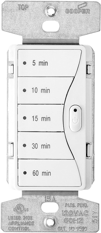 Eaton 9590AW 5-Button Preset Minute Timer, Alpine White