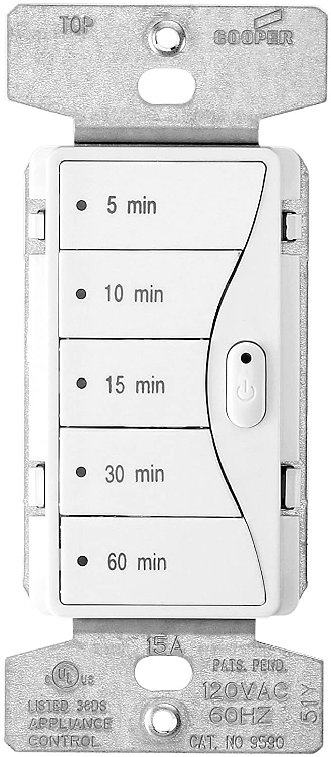 Eaton 9590aw 5 Button Preset Minute Timer Alpine White Wall Shop Cooper Wiring Devices 15amp 3way Light Switch At Lowes Dimmer Switches