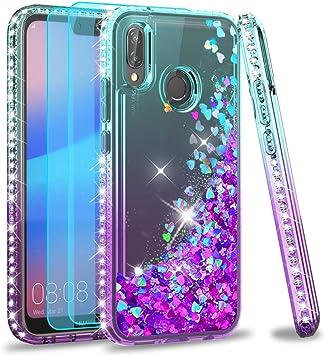 LeYi Coque Huawei P20 Lite avec Verre Trempé [Lot de 2], Liquide Paillette Transparente 3D TPU Silicone Antichoc Kawaii Diamant Protection Étui pour ...