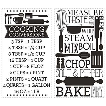 Amazon Lunarland Cooking Conversions Measurements Charts Wall