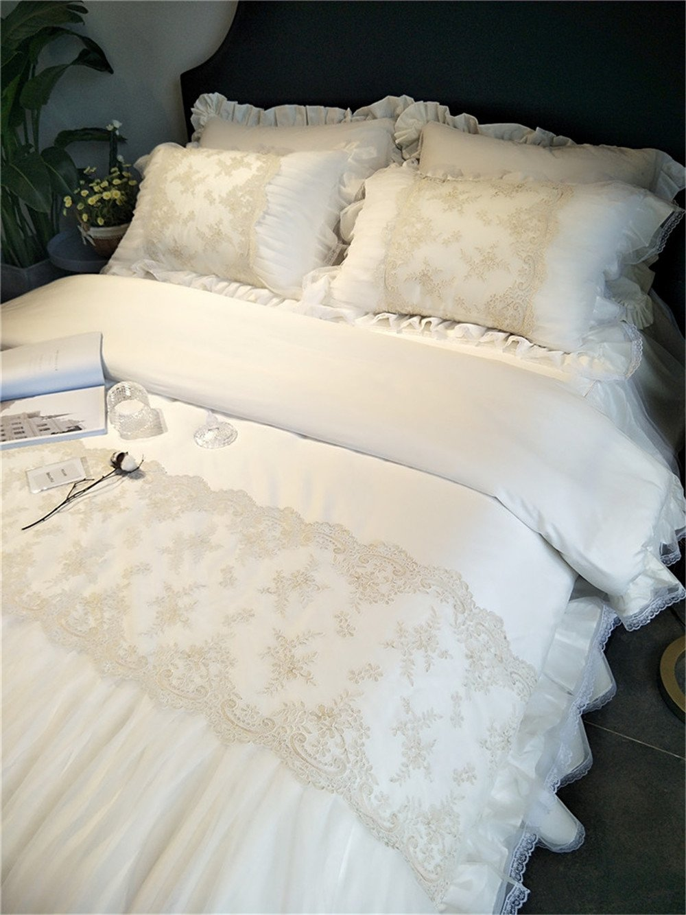 Lotus Karen White Ruffles Korean Bedding Set With Embroidery Lace Flower Patterns Romantic Wedding Bedding Set 60S Egyptian 100%Cotton Duvet Cover Set,1Duvet Cover,1Bedskirt,2Pillowcases by Lotus Karen