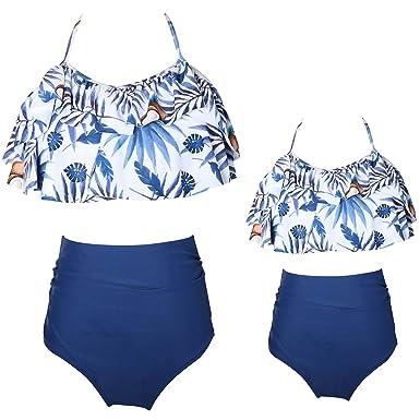 6221cf256c237 KABETY Girls Swimsuit Two Pieces Bikini Set Ruffle Falbala Swimwear Bathing  Suits (Blue