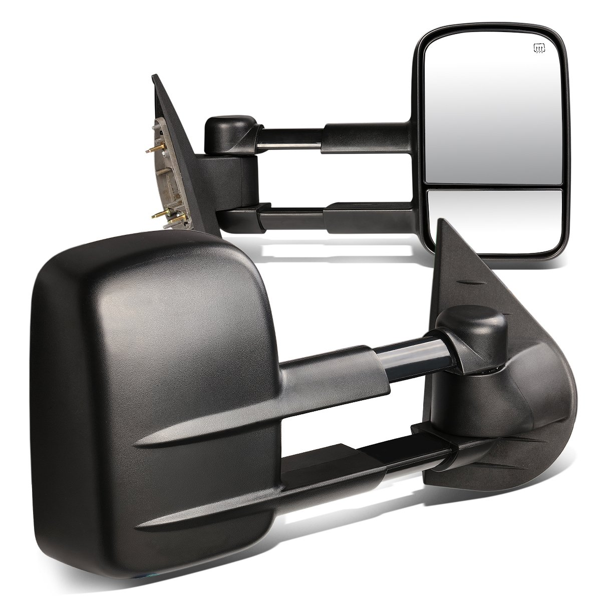 For Chevy/GMC GMT900 Pair of Power + Heated Manual Extend Towing Side Mirror (Black)
