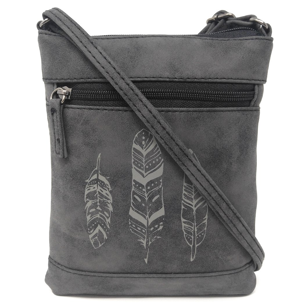 18348356e0 Small Faux Leather Feather Crossbody Bag
