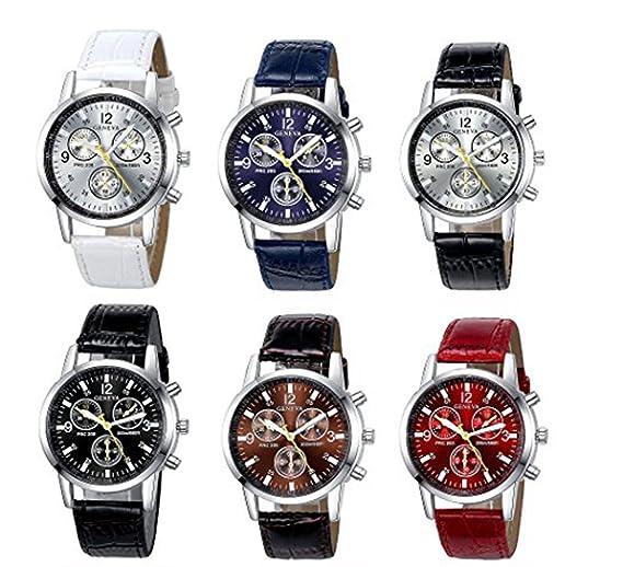 yunanwa 6 Pack de hombre piel reloj de cuarzo banda de ginebra niños Casual vestido de muñeca relojes al por mayor lotes Set: Amazon.es: Relojes