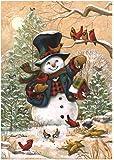 """Winter Friends Primitive House Flag Snowman Cardinals Briarwood Lane 28"""" x 40"""""""