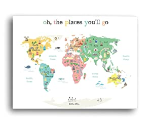 """""""Oh The Place You'll Go"""" Children's Illustrated World Map Poster - Global Nursery Art - Perfect for Nursery Decor, Bedroom Decor, Playroom Map, and Classroom Map- Educational Kid's Room Map"""