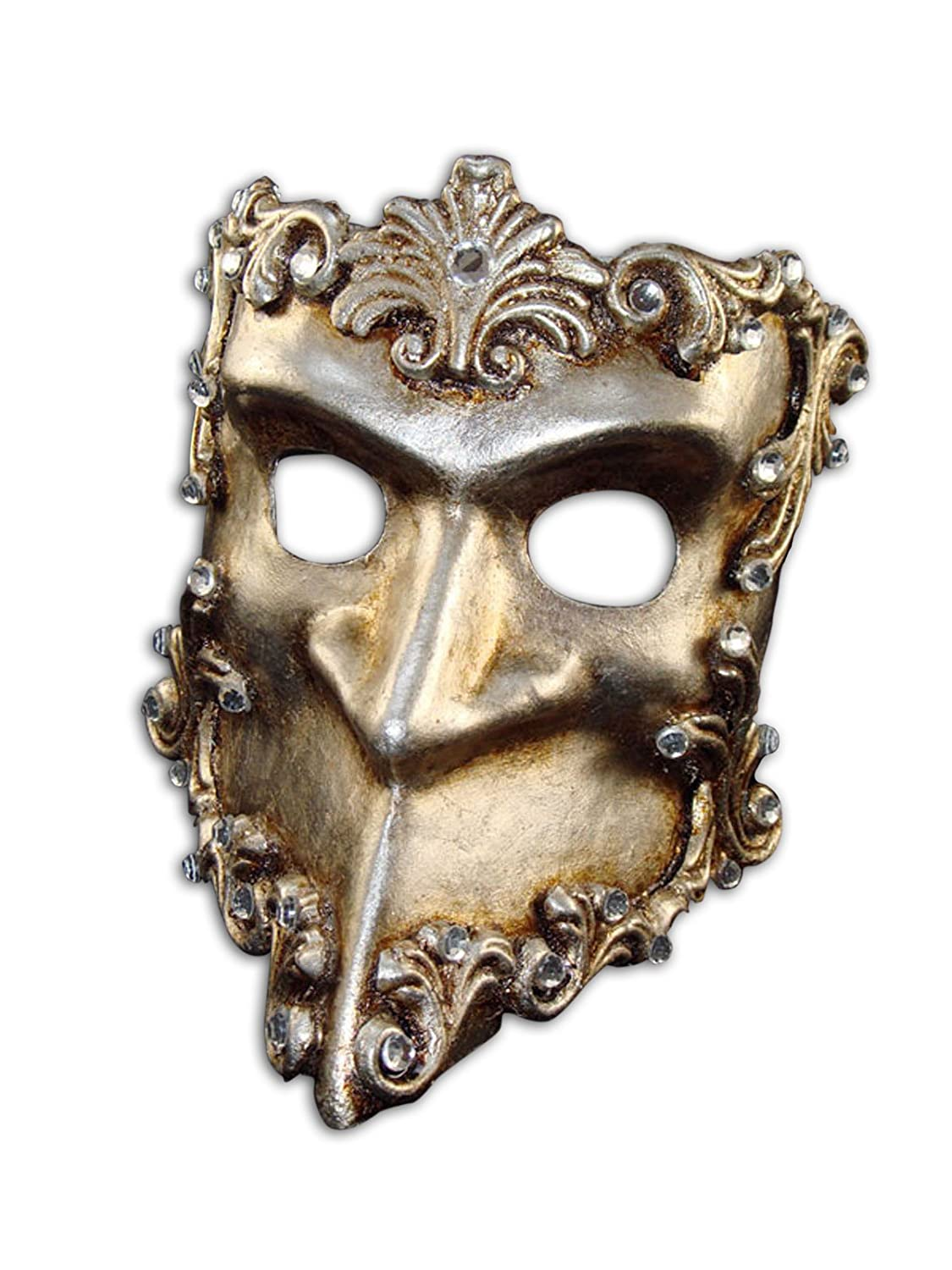 Luxury Venetian Half Face Mask Bauta Baroque with Swarovski Crystals for Men B40s