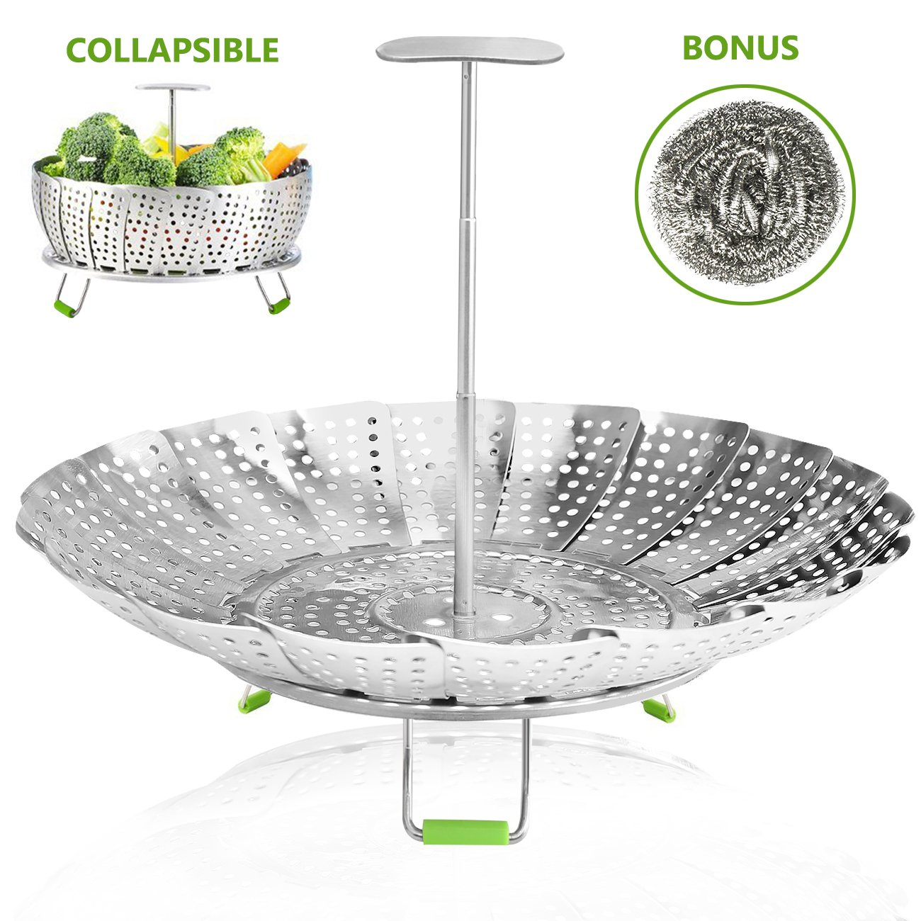 Vegetable Steamer Basket Stainless Steel Collapsible Steamer Insert for Steaming Veggie Food Seafood Cooking, Metal Handle Foldable Legs, Fit Various Pot Pressure Cooker (5.3 to 9) Consevisen