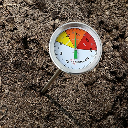 Compost soil thermometer by greenco stainless steel for Soil thermometer