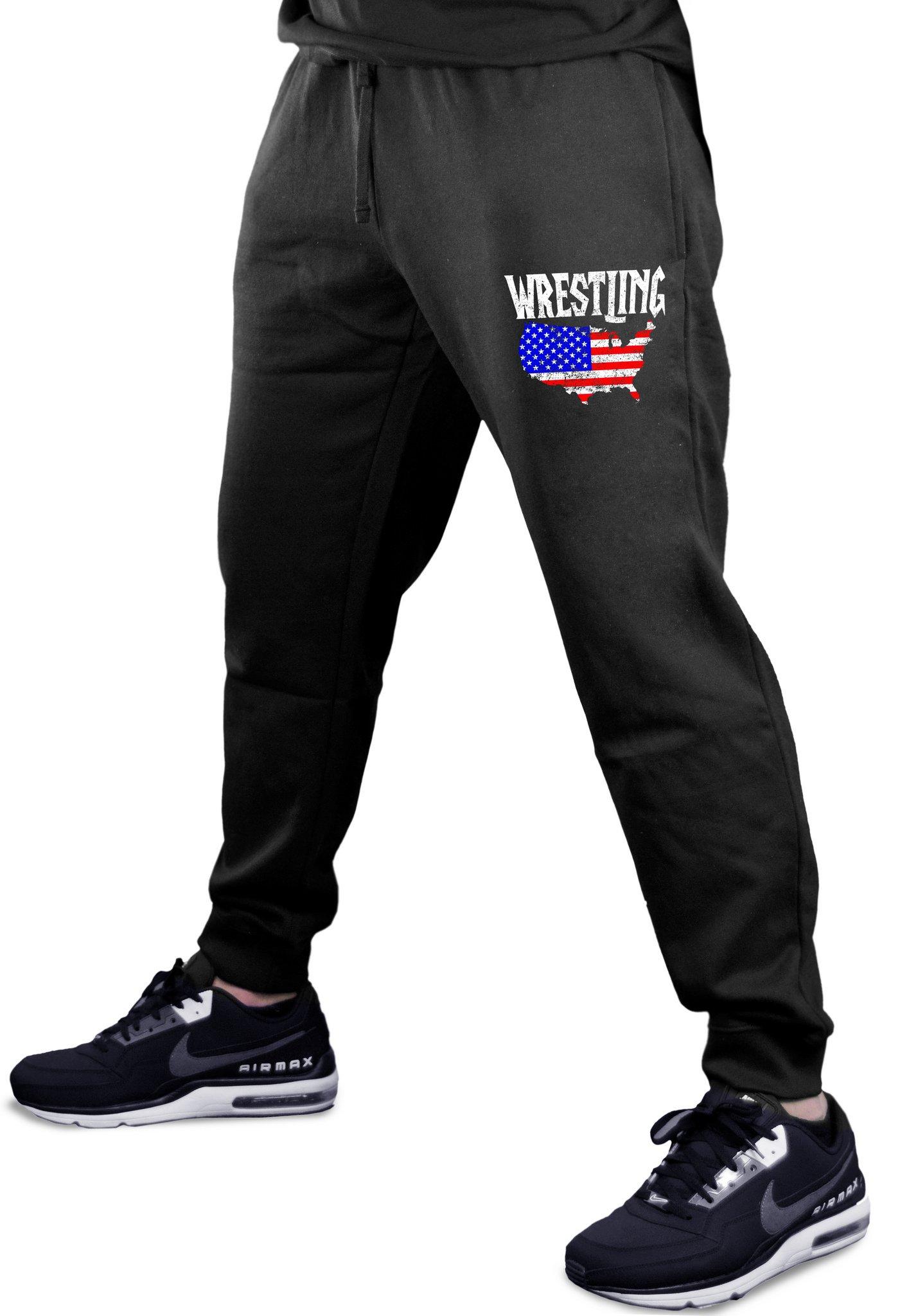 Interstate Apparel Men's Wrestling American Flag Map Black Fleece Gym Jogger Sweatpants Medium Black