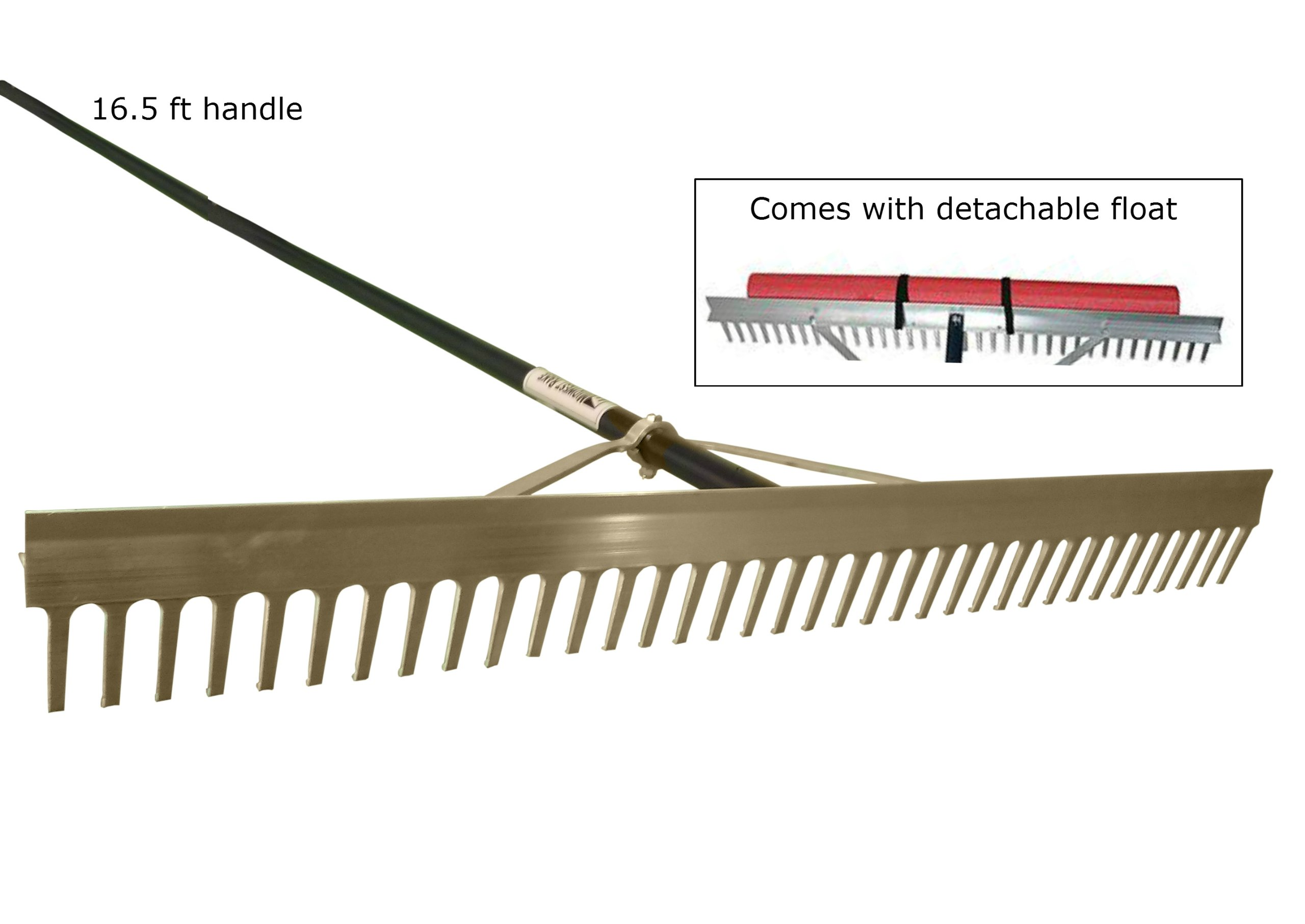 Super Long / Wide Lake Weed, Beach & Landscaping Rake - 36 inch Wide Head with 16.5 Ft Long Handle by Rake