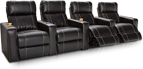 Seatcraft Dynasty – Home Theater Seating – Power Recline – Leather Gel – Lighted Cup Holders – USB Charging – Wall Hugger – Row of 4 – Black