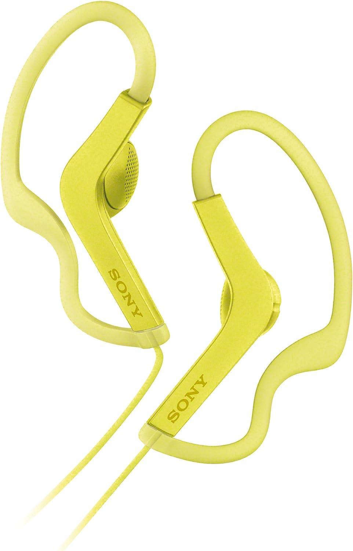 Sony MDRAS210APY.CE7 - Auriculares Deportivos de botón con Agarre al oído (Resistentes a Salpicaduras, Manos Libres Compatible con Apple iPhone y Android), Color Lima