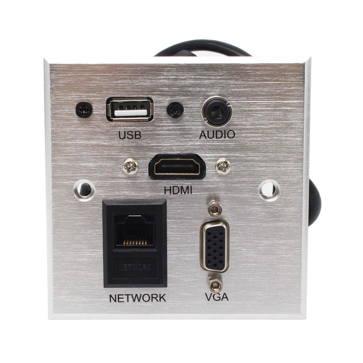 Multimedia Desk Socket Universal HDMI, USB, NETWORK, VGA, Auido information Outlet Box High-grade Wall Socket Panel