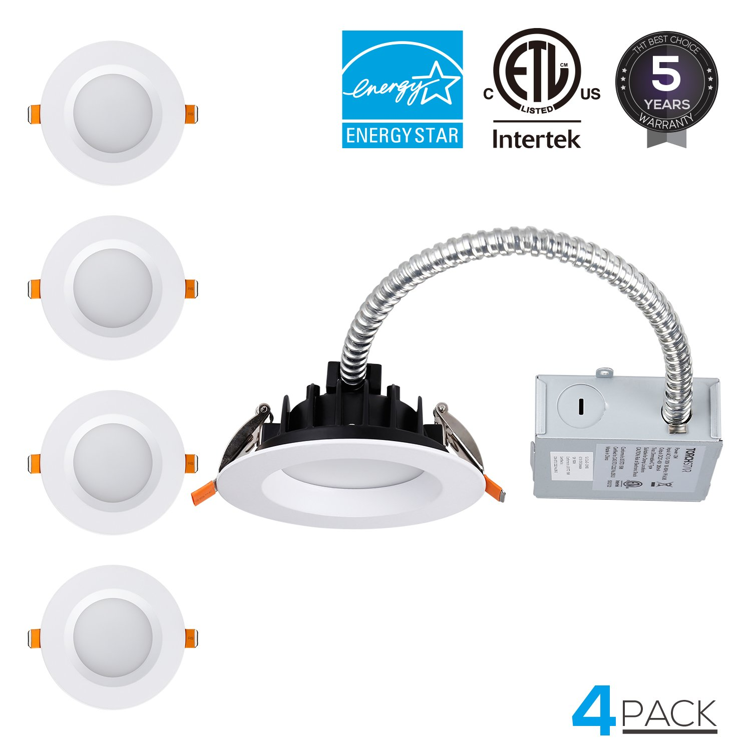 TORCHSTAR 4-inch Commercial LED Recessed Ceiling Light with Junction Box, IC Rated Can Killer, Dimmable Airtight Downlight, 12W (90W Equiv.), ETL & Energy Star Certified, 3000K Warm White, Pack of 4