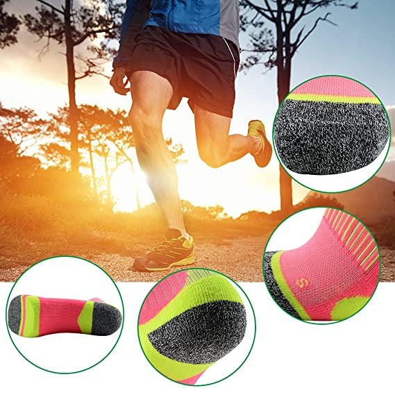 MEIKAN Hiking Socks for Men and Women, Athletic Cushion Ankle Quarter Socks 1,3 Pairs