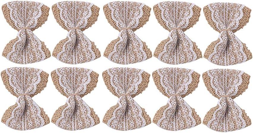 Violet LJSLYJ 10 Pcs Vintage Naturel Toile de Jute Toile de Jute DIY Rubans Bowknot Scrapbooking Dentelle Ruban Artisanat de Mariage D/écoration