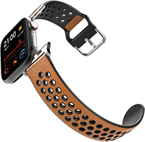 HALLEAST Compatible Apple Watch Band 42mm 44mm for Men, Leather Skin Soft TPU Waterproof Sport iWatch Bands for Series 1/2/3/4/5/6, Vintage Brown