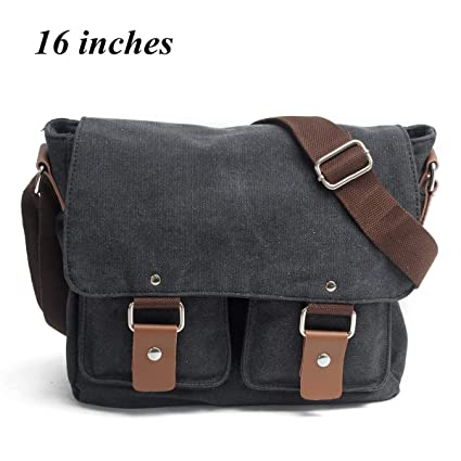 c6ec26cbbbc2 Yingbo Canvas Messenger Bag Shoulder Bag Laptop Bag Computer Bag Satchel Bag  Bookbag School Bag Working Bag for Men and Women (BLACK)  Amazon.ca   Luggage   ...