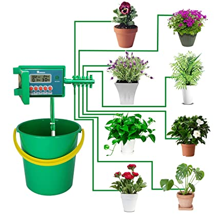 225 & Yardeen Micro Automatic Drip Irrigation Kit Self Watering System Sprinkler Controller for Indoor Potted Plants Color Green